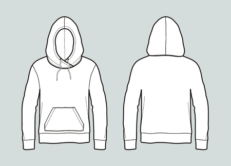 Hooded jumper, front and back view vector illustration. Çizim