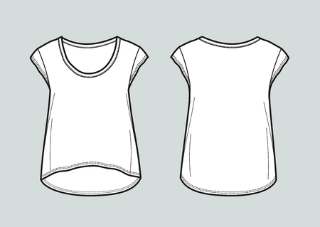Vector illustration of womens top in front and back view. Illustration