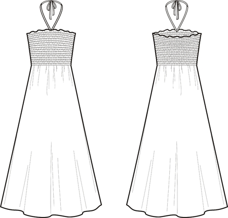Vector illustration of summer dress. Front and back