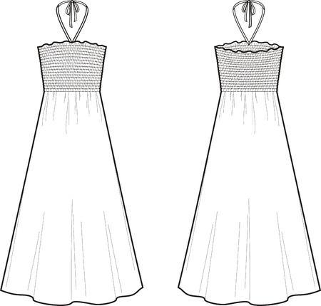 Vector illustration of summer dress. Front and back