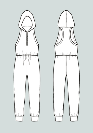 Vector illustration of women's coveralls with hood. Front and back