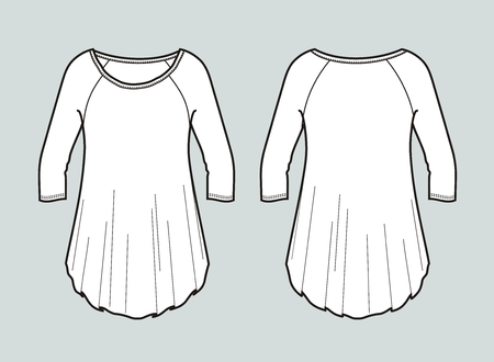 Vector illustration of womens blouse. Front and back Illustration