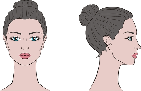 Vector illustration of women's head. Front and side