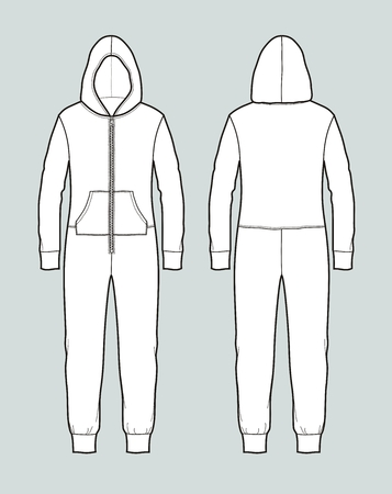 Vector illustration of womens coveralls with hood. Front and back
