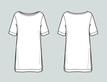 Vector illustration of womens top. Front and back Illustration