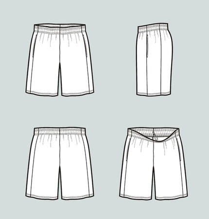 Vector illustration of sport basketball shorts. Front, back, side