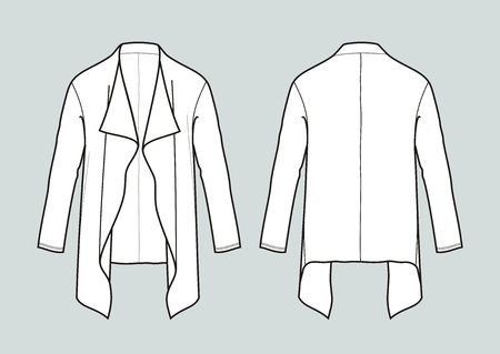 Vector illustration of womens cardigan. Front and back