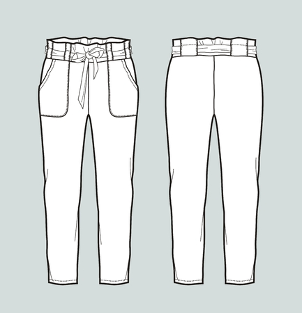 Vector illustration of womens pants with belt. Front and back