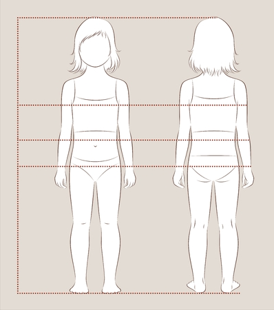 Vector illustration of girl child body measurements for clothing design and sewing. Front, back views