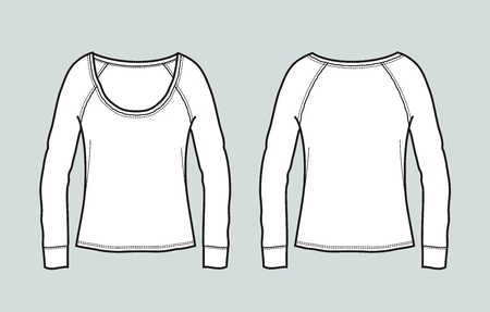Vector illustration of women's top. Front and back