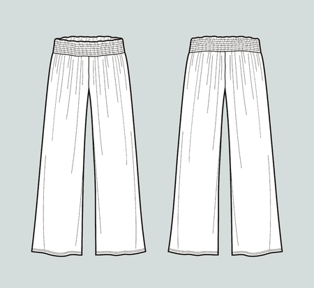 Vector illustration of womens flared draped pants. Front and back
