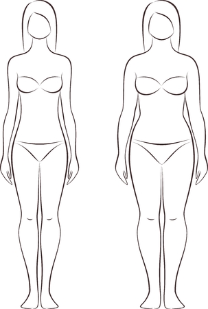 Vector illustration of woman's figure. Different body types