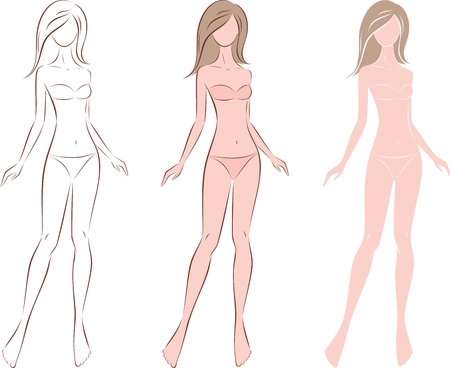 Vector illustration of women's figure with long hair