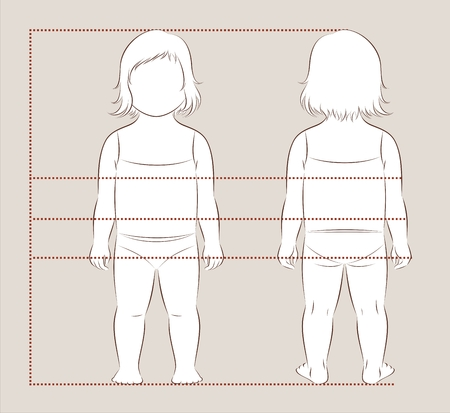 Vector illustration of girl baby body measurements for clothing design and sewing. Front, back views