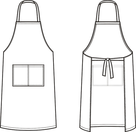 Vector illustration of apron. Front and back