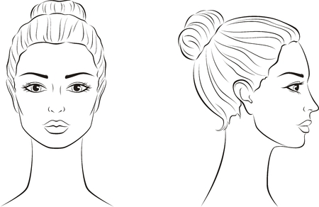 Vector illustration of female face. Front and side