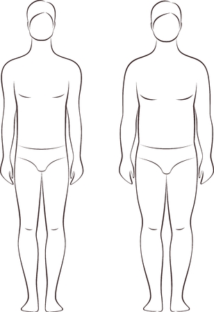 Vector illustration of man's figure. Different body types Archivio Fotografico - 103084415