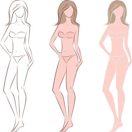 Vector illustration of womens figure with long hair