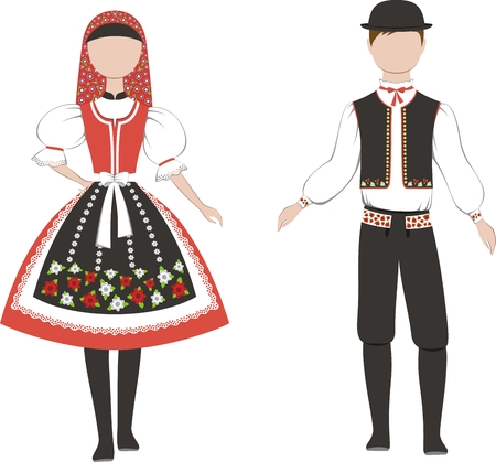 Vector illustration of men's and women's Czech Republic national costume