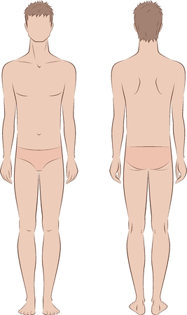 Vector illustration of mans fashion figure. Front and back