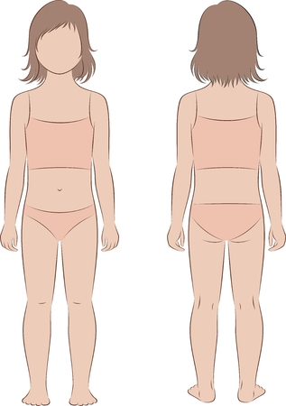 Vector illustration of girl child figure. Front, back views