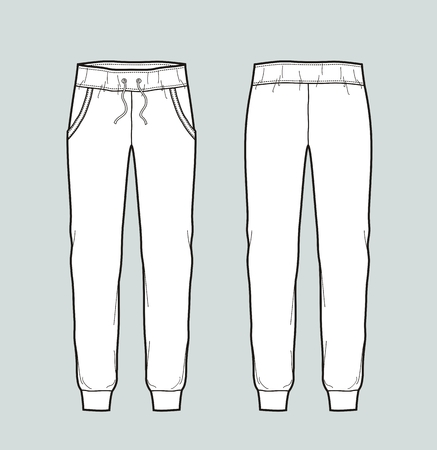 Vector illustration of jogger pants. Front and back