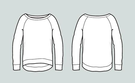 Vector illustration of long sleeved jumper. Front and back