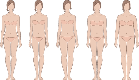 Vector illustration of woman's figure. Different body types. Front and back