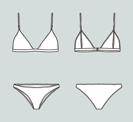 Vector illustration of swimsuit. Bra and panties. Front and back