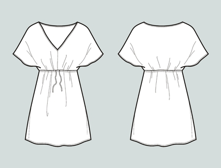 Vector illustration of women's summer dress. Front and back