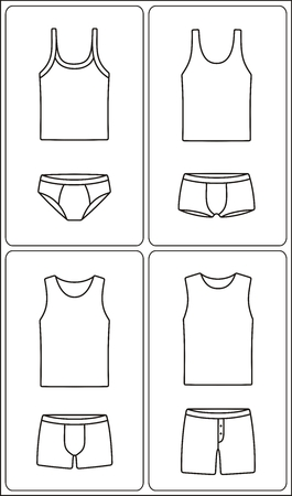 Vector illustration of men's underclothes fashion icon. Pants, shorts, boxer briefs, tank top, singlet