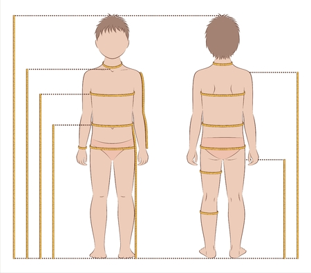 Vector illustration of childs body measurements for clothing design and sewing. Front, back views