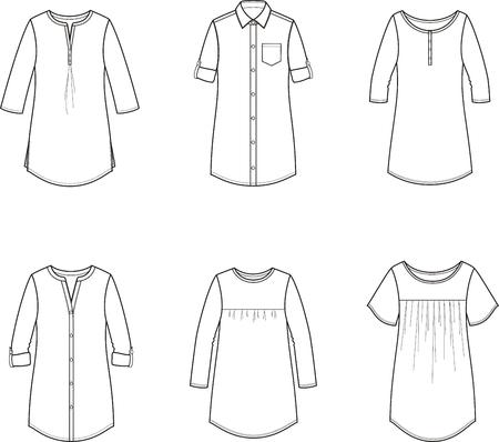 Vector illustration of womens tunic, blouse, shirt Illustration
