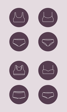Vector illustration of sport underwear fashion icon. Bra and panties