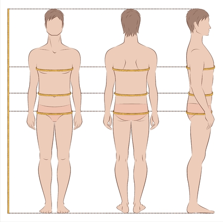 Vector illustration of mens body measurements for clothing design and sewing. Front, back side views Illustration
