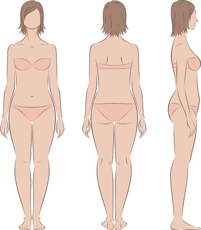 Vector illustration of women's figure. Front, back, side. Body type with increased fat deposition and musculature in the low part