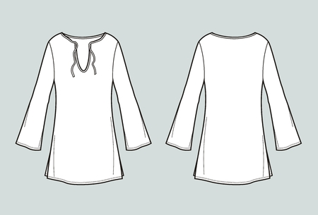 Vector illustration of womens tunic. Front and back