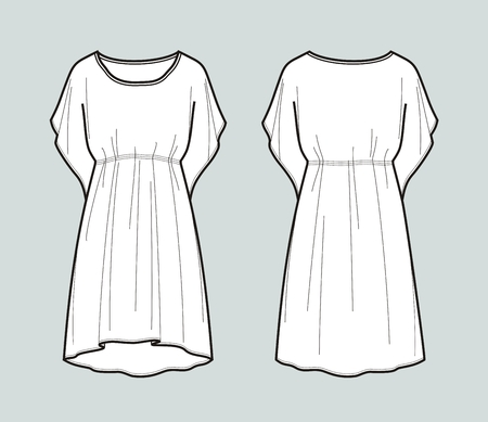 Vector illustration of women's beach tunic. Front and back Ilustração