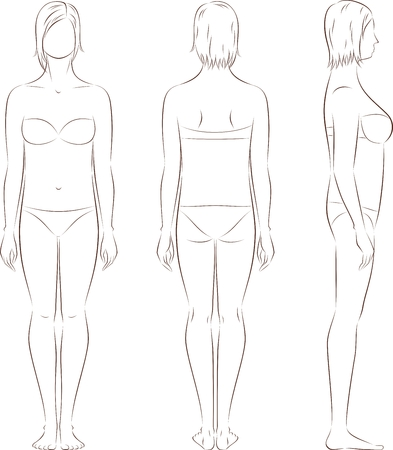 Vector illustration of women's figure. Front, back, side. Body type with increased fat deposition and musculature in the upper part