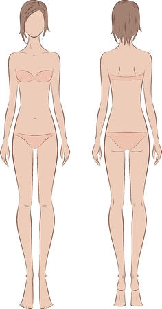Vector illustration of womens fashion silhouette. Front and back Ilustração