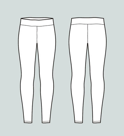 Vector illustration of womens leggings. Front and back