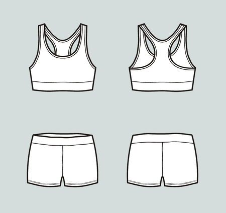 Vector illustration of sport underwear. Tank top and shorts. Front and back Çizim