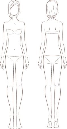 Vector illustration of women's fashion silhouette. Front and back