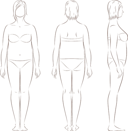 Vector illustration of women's figure. Front, back, side. Body type with increased fat deposition and musculature in the abdominal area Vettoriali