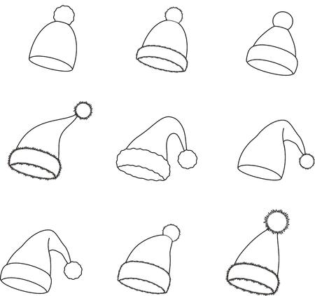Vector illustration of Santa Claus Christmas winter holiday cap Stockfoto - 124935136