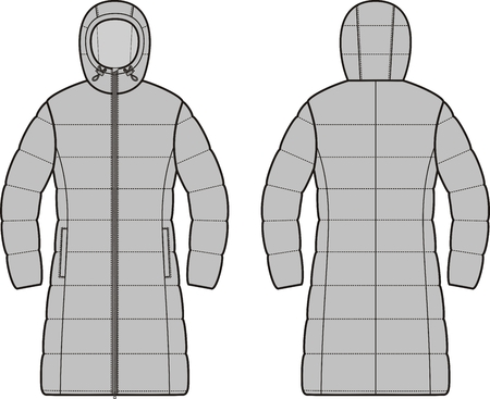 Vector illustration of womens winter down long coat. Front and back Ilustrace
