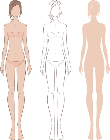 Vector illustration of womens fashion silhouette. Front view Illustration