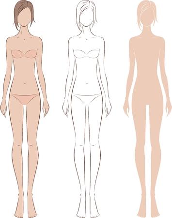 Vector illustration of womens fashion silhouette. Front view Ilustração
