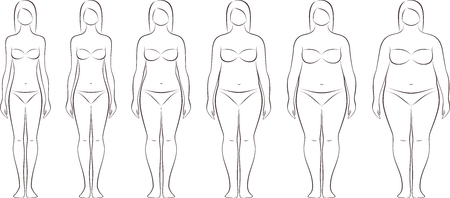 Vector illustration of womens figure. Different body mass Çizim