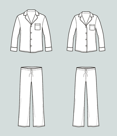 Vector illustration of family pajamas set. Mens and womens night suit. Shirt and pants Иллюстрация
